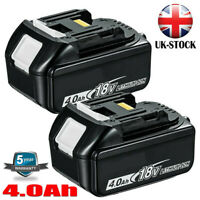 2x Battery For Makita BL1840 18V 4.0Ah Lithium Ion LXT Li-Ion BL1830 194230-4 UK