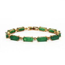 LUSTROUS MODERN 10K GOLD GREEN LINK JADE BRACELET