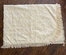 Vintage Popcorn Yellow Diamond Pom Fringe Edge Chenille Bedspread Blanket Twin