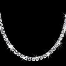 """20ct Brilliant D/VSS1 Diamond 14K Gold Over Tennis Necklace in 16"""" FINE EDH"""