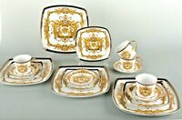 16 Piece Euro Porcelain Medusa Fine Bone China Dinner Set Service for 4 - White