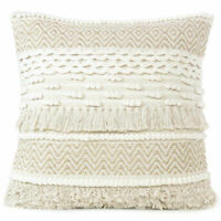 """20"""" Beige Cream Woven Tufted Colorful Cushion Pillow Cover Case Fringe Sofa Couc"""