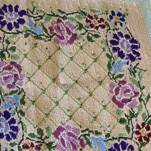 Vintage Needlepoint Floral Canvas Finished 15x15 Cream Cottagecore