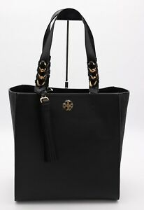 NWT Tory Burch Brooke Black Leather Tote Shoulder Bag New $558
