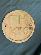 More details for antique fire hydrant cast iron wall plaque sign.  fh 14ft 6in rare 1800's (7512)