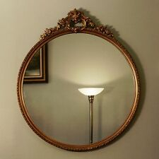 "Vtg 30"" Round Wooden Gilt Gold Hollywood Regency Neoclassical Wood Wall Mirror"