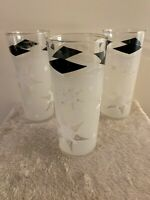 VINTAGE SNOWFLAKE BLACK DIAMOND DRINKING GLASS GLASSES TUMBLER 2 MID CENTURY