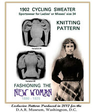 "1902 Vintage Knitting Pattern for Women's ""Muttonchop"" Sleeve Cycling Sweater"