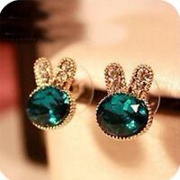 Hot Fashion Jewelry Crystal Green Rabit Stud Earrings For Women