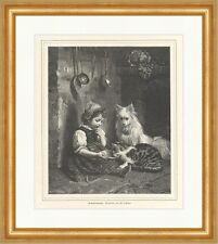 Geduldsprobe Schütze Kinder Katzen Gedicht Kellen Küche Holzstich Hunde E 2580