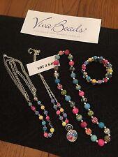 Viva  Jewelry Set  4 Piece SET 3 Necklaces  Triple Bracelet FABULOUS Colors L@@K