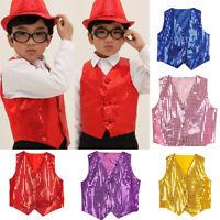 Kids Boys Glitter Sequin Waistcoat Dancewear School Cosplay Costumes Tops Jacket
