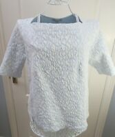 PURE COLLECTION Blue White Textured Jersey Top Size 16 Stretch Cotton Blend