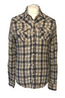 Men's Scotch & Soda Casual Shirt Beige Blue Check Medium 100% Cotton