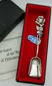 HILDESHEIM Germany sterling silver 835 ROSE Sugar Spoon - embossed scoop  BOX