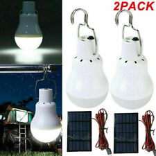 2Pcs Solar Panel Powered Led Bulb Light Portable Outdoor Hiking Camping Lamp 15W