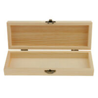 Blank Rectangle Unfinished Wooden Jewelry Gift Box Case for Kids DIY Crafts