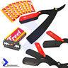 Black Steel Barber Hair Shaving Razor Kit Straight Folding Knife Men Cut Throat