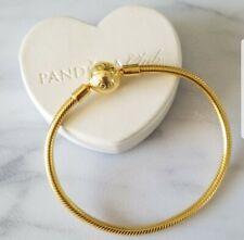 "Authentic pandora shine gold tone  charm bracelet size 7.5"" &  w box"
