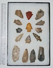 Collection of 15 Native American Arrowheads w/ Frame
