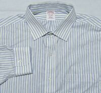 Brooks Brothers NON IRON Long Sleeve Dress Shirt Blue Yellow Striped 16.5 36