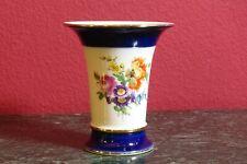 Meissner Porzellan Trompeten Vase Kobalt mit zwei Bunte Blumebuketts, I.Wahl, na
