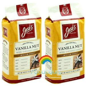 2 Packs Jose's Vanilla Nut Whole Bean Coffee 3 LB Each Pack
