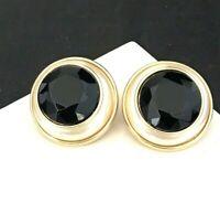 Vintage Marvella Earrings Gold Tone Clip On Crystal Simulated Pearl 1F