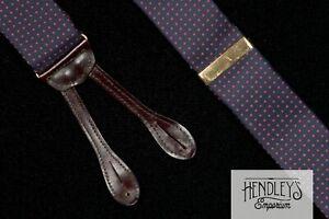 TORINO Suspenders Ruby Red Micro Dots Navy Silk Twill Goldtone Hardware