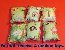 Cat Catnip Pillow Toy - Hand Made Animals Mix Patterns Rectangle - 4 ea