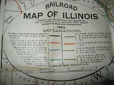 1893 RAILROAD COMMISSIONERS RAND McNALLY POCKET MAP OF ILLINOIS
