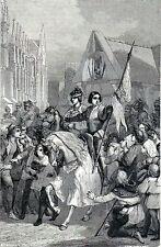 Antique print :Joan of Arc, Jeanne d'Arc Charles VII de France , Reims 1860