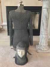 1100-1500 2pcs Midieval Chain Mail Armor Top & Face Mask Early Repro; Exell Cond