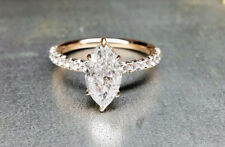 14K Yellow Gold Solid Marquise 2.50 Ct Diamond Solitaire Engagement Wedding Ring