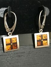 925  Sterling Silver Square Box Dangle Earrings