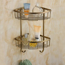 Bathroom 2 Tier Shower Caddy Corner Shelf Wall Mounted Storage Holder Basket