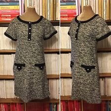 Structured monochrome wool lurex tweed jumper sweater dress UK 10-12 / US 6-8