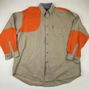 Roper Range Gear Outdoors Long Sleeve Button  Shirt Khaki Orange Mens XL