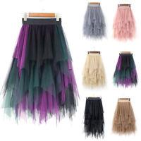 Women High Waist Ruffle Mesh Tutu Skirt Sheer Net Tulle Pleated Long Party Dress