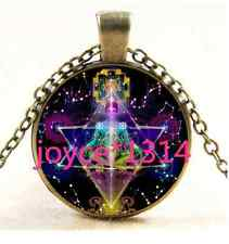 Chakra Glass Pendant bronze Chain Reiki Chakra Zen Healing Om Necklace #1370
