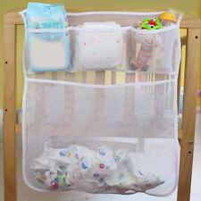 New Crib Storage Bag Mesh Baby Cot Diaper Nappy Clothes Hanging Organizer Holder