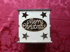 MDF Wooden Merry Christmas LED light box. Craft wall door hanging art