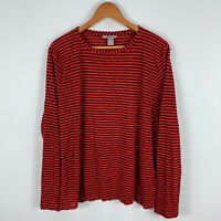 H&M Womens Top 3XL Plus Red Black Striped Long Sleeve Round Neck Shirt