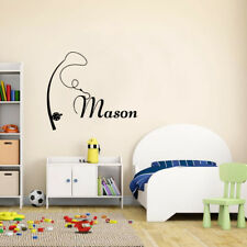 CUSTOMISE NAME & fishing rod  Removable Wall Decal