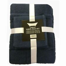 Juego de toallas de baño y albornoces color principal azul con la toalla de lavabo