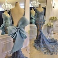 Blue Pageant Formal Bridesmaid Evening Party Prom Lace Long Sleeve Mermaid Dress