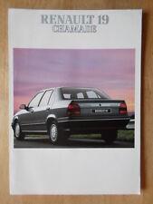 RENAULT 19 CHAMADE orig 1989-90 UK Mkt Sales Brochure