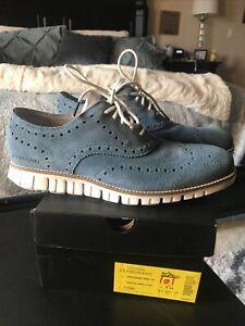 Men's COLE HAAN Zerogrand Suede Wingtip Oxfords  Vintage Indigo Blue Sz-9.5 M