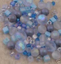 140+ BLUE GHOST GLASS BEADS Czech-Miyuki-Matsuno-AB+Lot