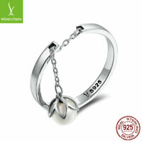 Women Girls Authentic 925 Sterling Silver Tears flower Free Size Ring Adjustable